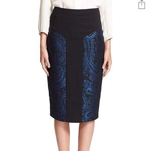 Ted Baker Black And Blue Pencil Skirt